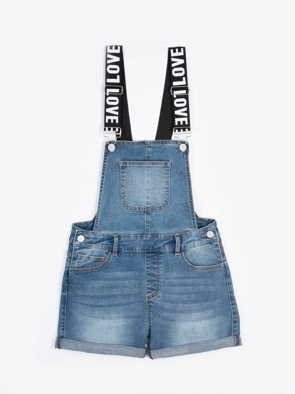 Dungaree denim shorts