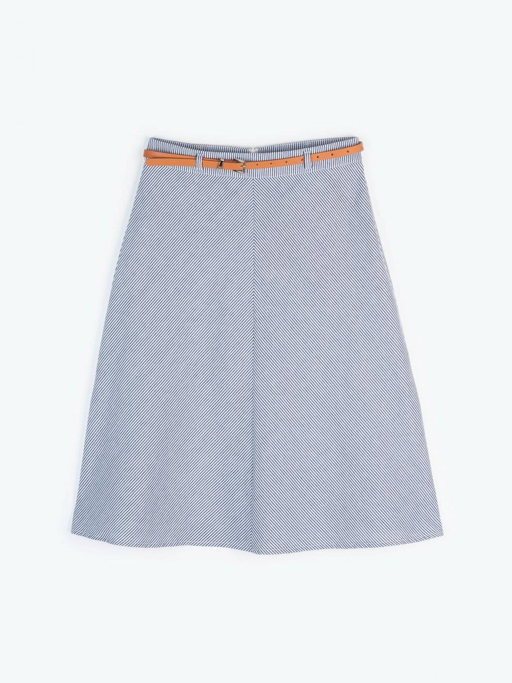 A-line striped skirt with belt