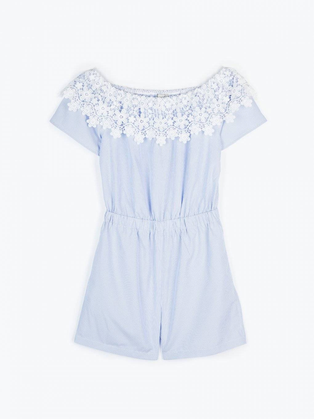 Off-the-shoulder short jumpsuit with lace