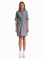 Front knot shirt dress