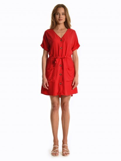 Button down viscose dress