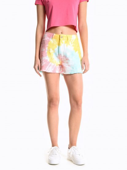 Tie dye denim shorts