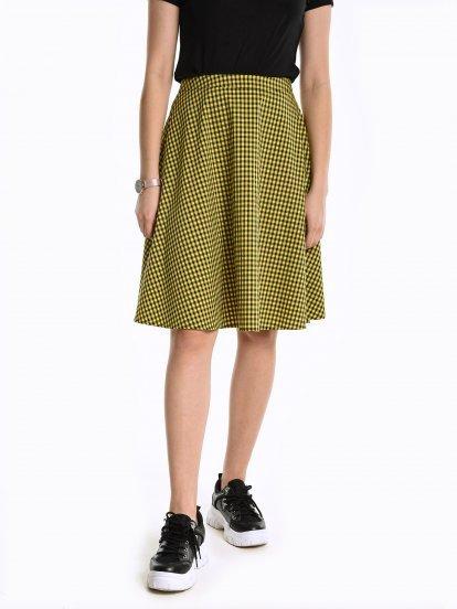 A-line gingham skirt