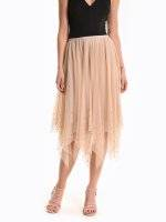 Maxi tulle skirt with pearls