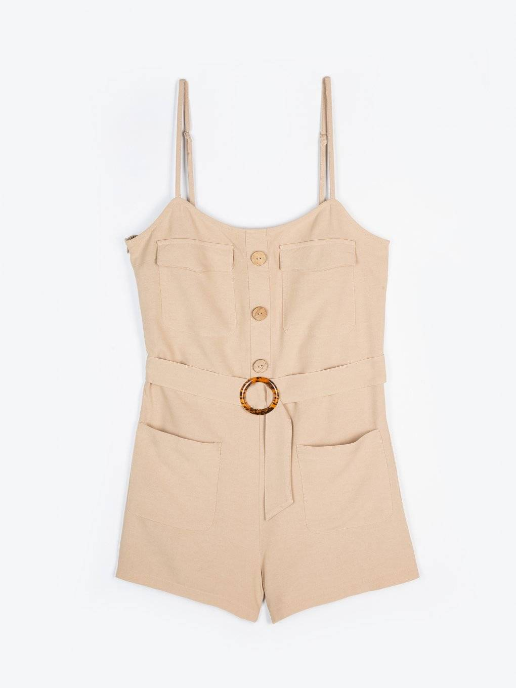 Short jumpsuit with belt