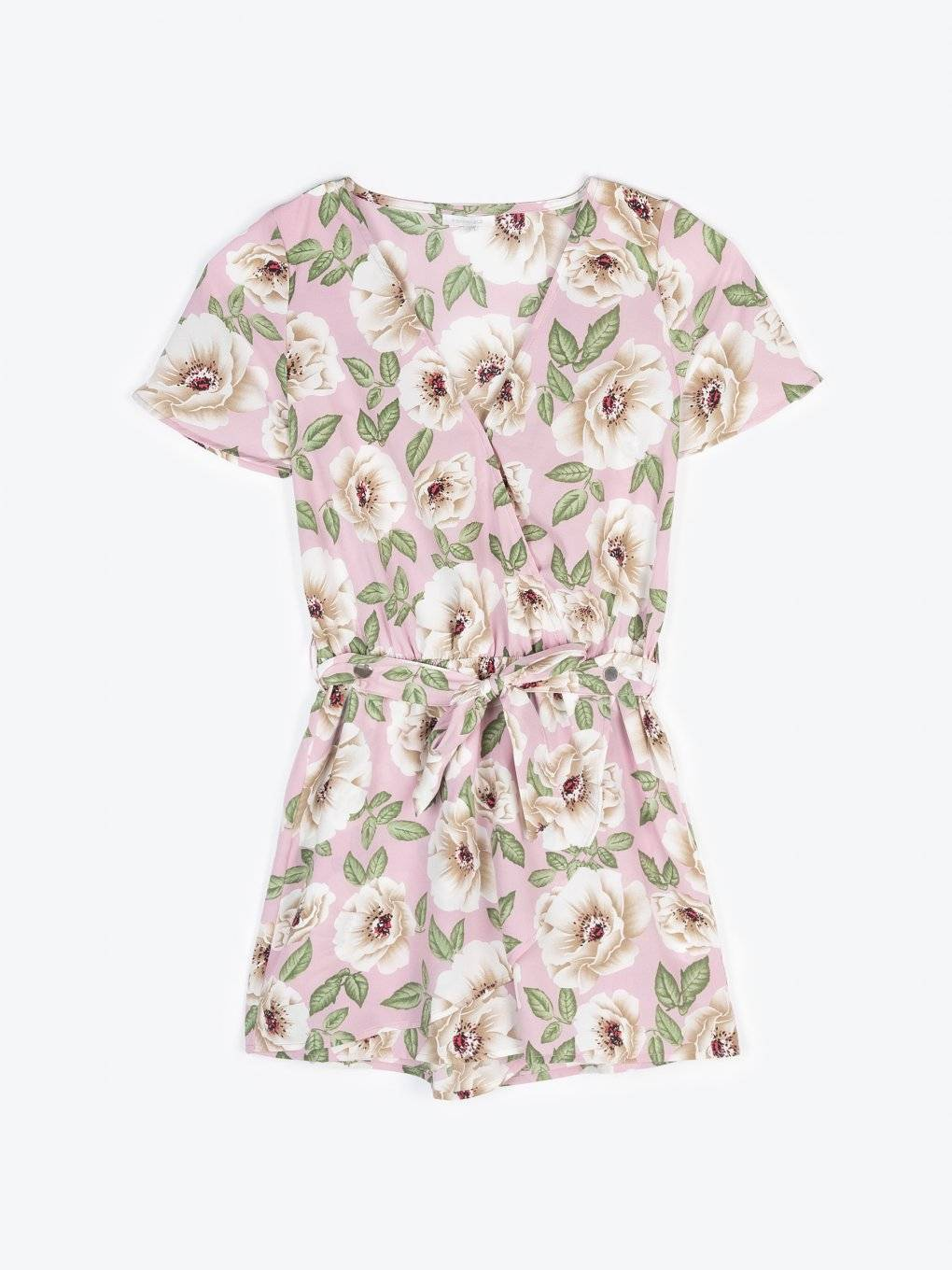 Short jumpsuit with floral print and belt