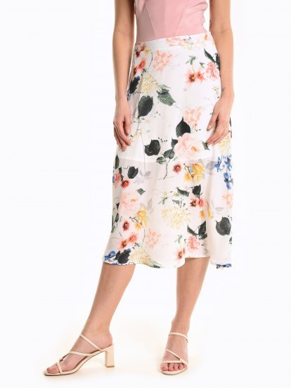 A-line midi skirt with floral print