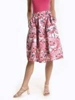 A-line midi skirt with flamingo print