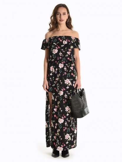 Off-the-shoulder floral jumpsuit