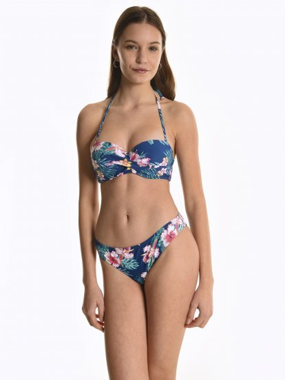 Majtki bikini z nadrukiem kwiatowym - dół