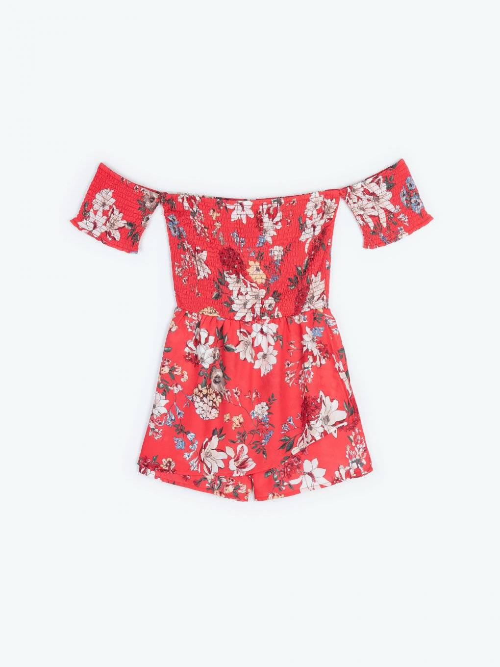Off-the-shoulder floral print short jumpsuit