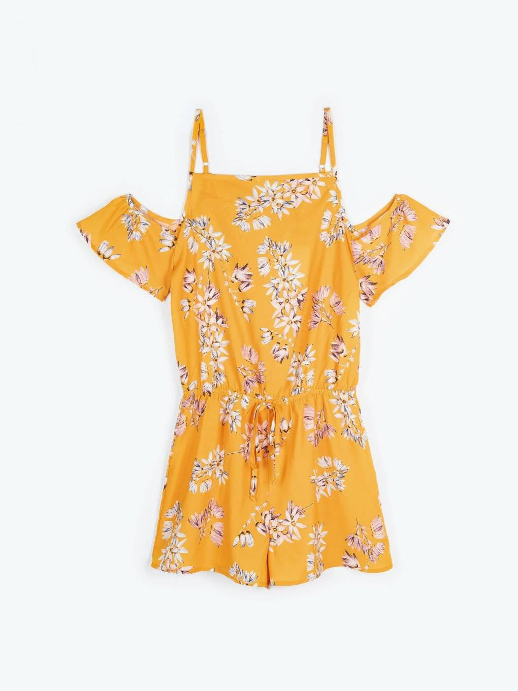Cold-shoulder floral print short jumpsuit