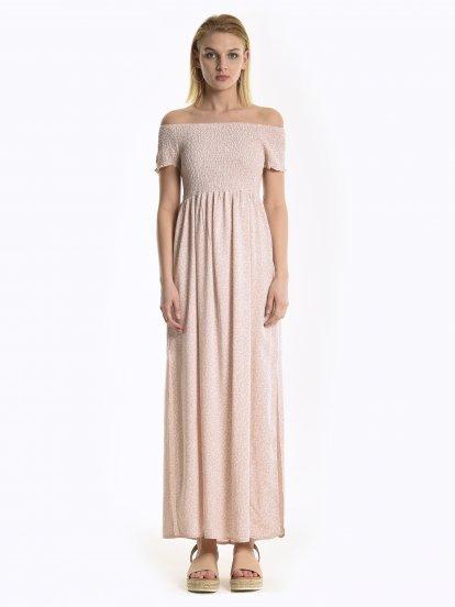 Off-the-shoulder floral print maxi dress