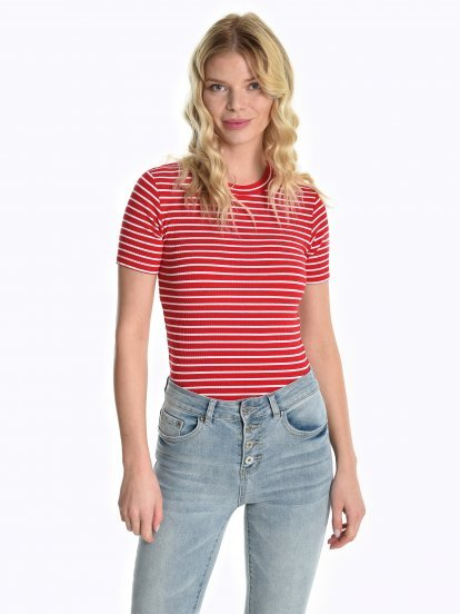 Striped short sleeve jumper