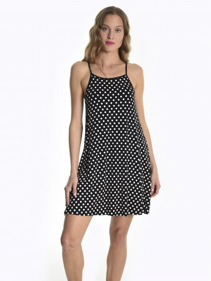 Polka dot print a-line top