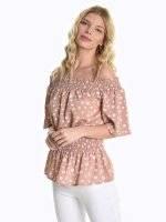 Off-the-shoulder polka dot print blouse
