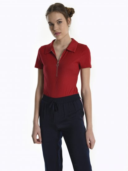 Polo bodysuit with zipper