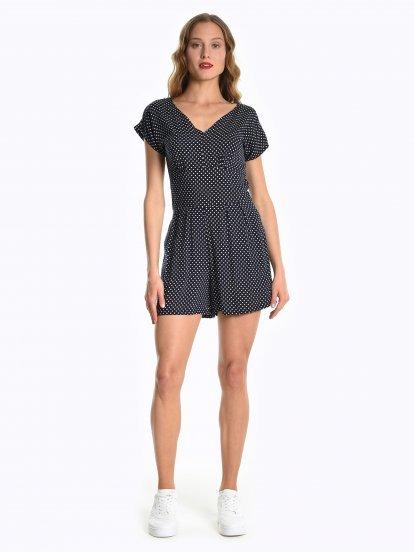 Polka dot print short jumpsuit