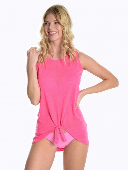 Longline tank top with knot