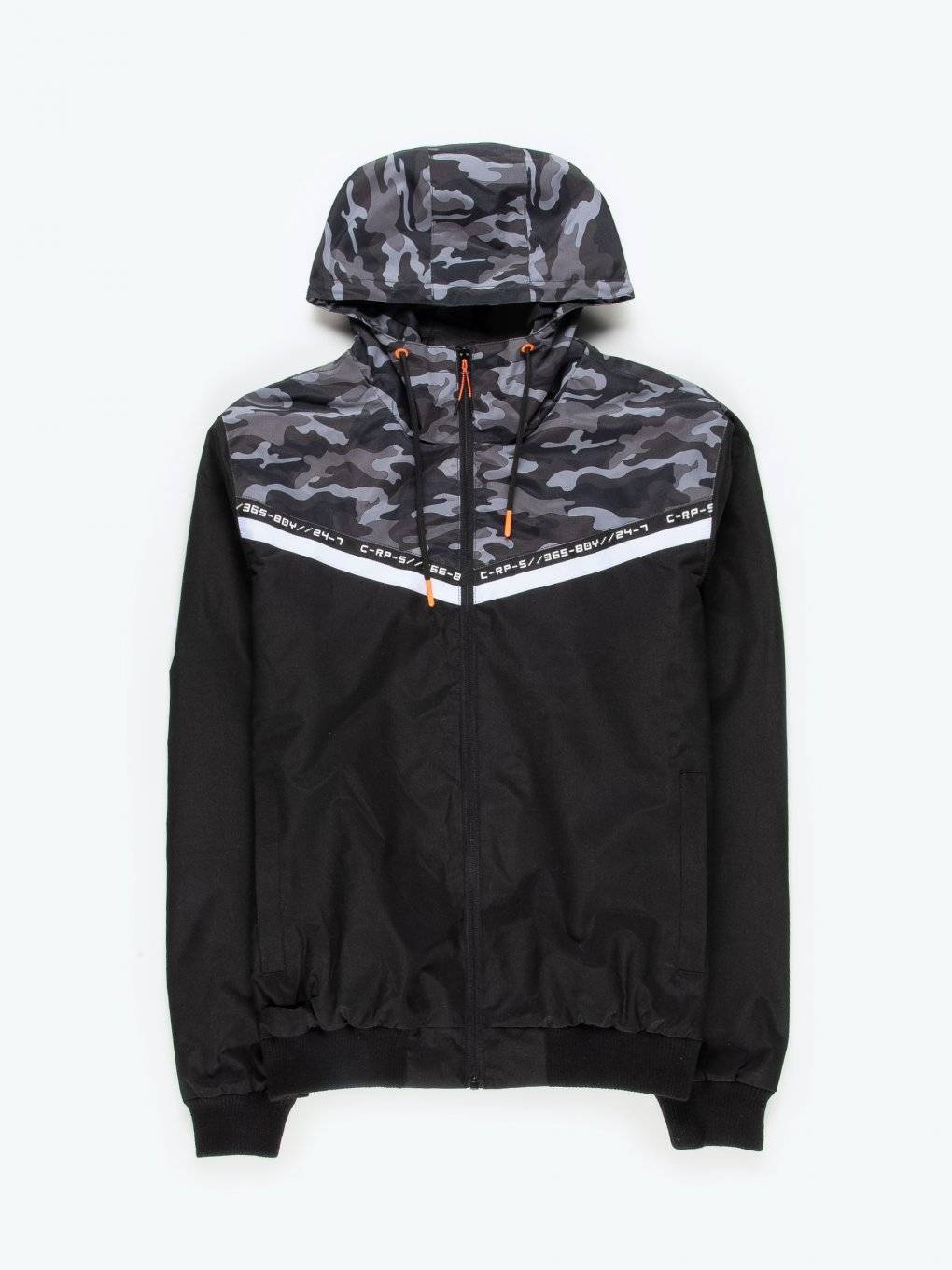 Hooded camo print jacket