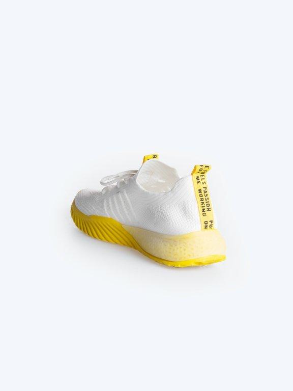 Sznurowane tenisówki z neonowym detalem