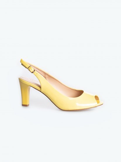 Patent slingback shoes