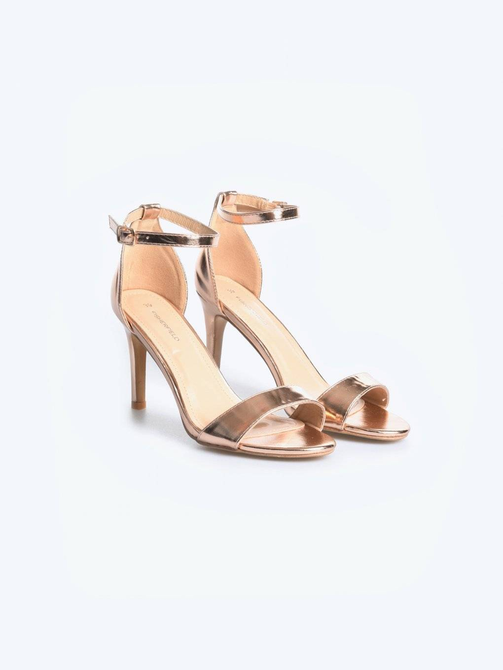 High heel metallic sandals
