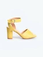 Faux suede block heel sandals