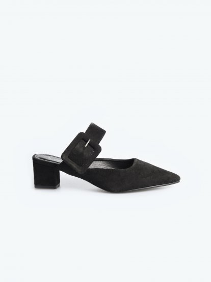 Mid heel slides with buckle detail
