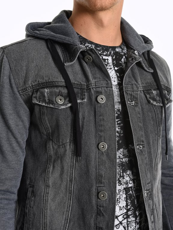 Combined denim jacket with hood