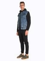 Denim vest with removable hood