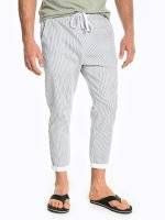 Cropped striped stretch trousers