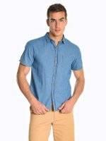 Denim short sleeve shirt