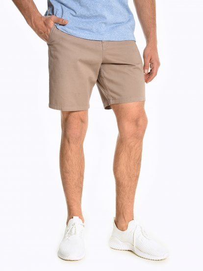Cotton chino shorts with prin