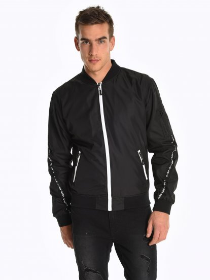Taped bomber jacket