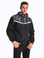 Hooded camo print jacket