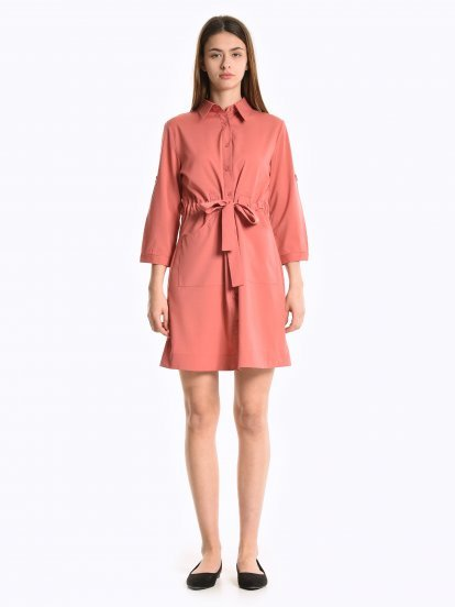 Shirt dress with belt