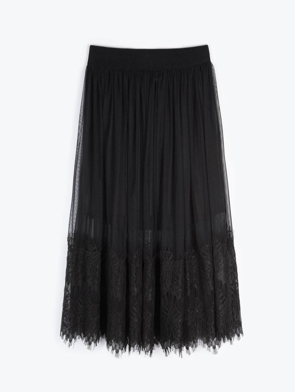 A-line midi lace skirt