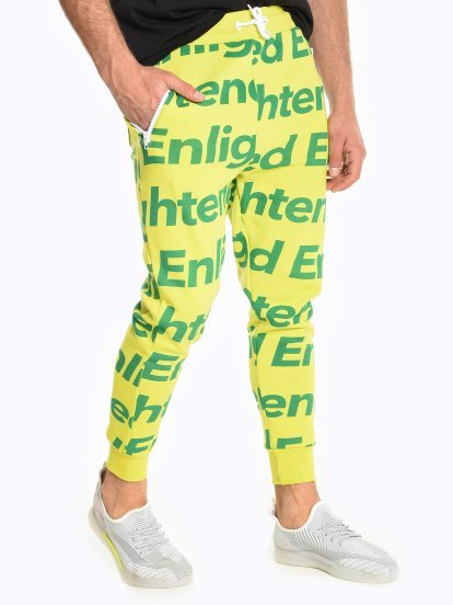 Sweatpants with slogan print