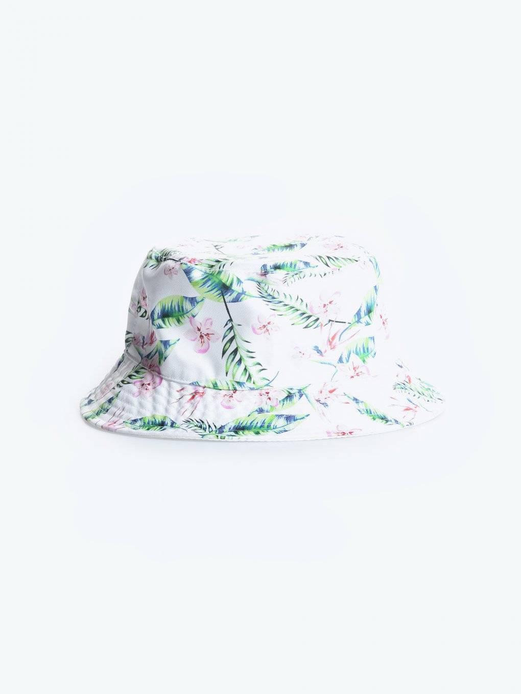 Oboustranný klobouk s květinovým potiskem