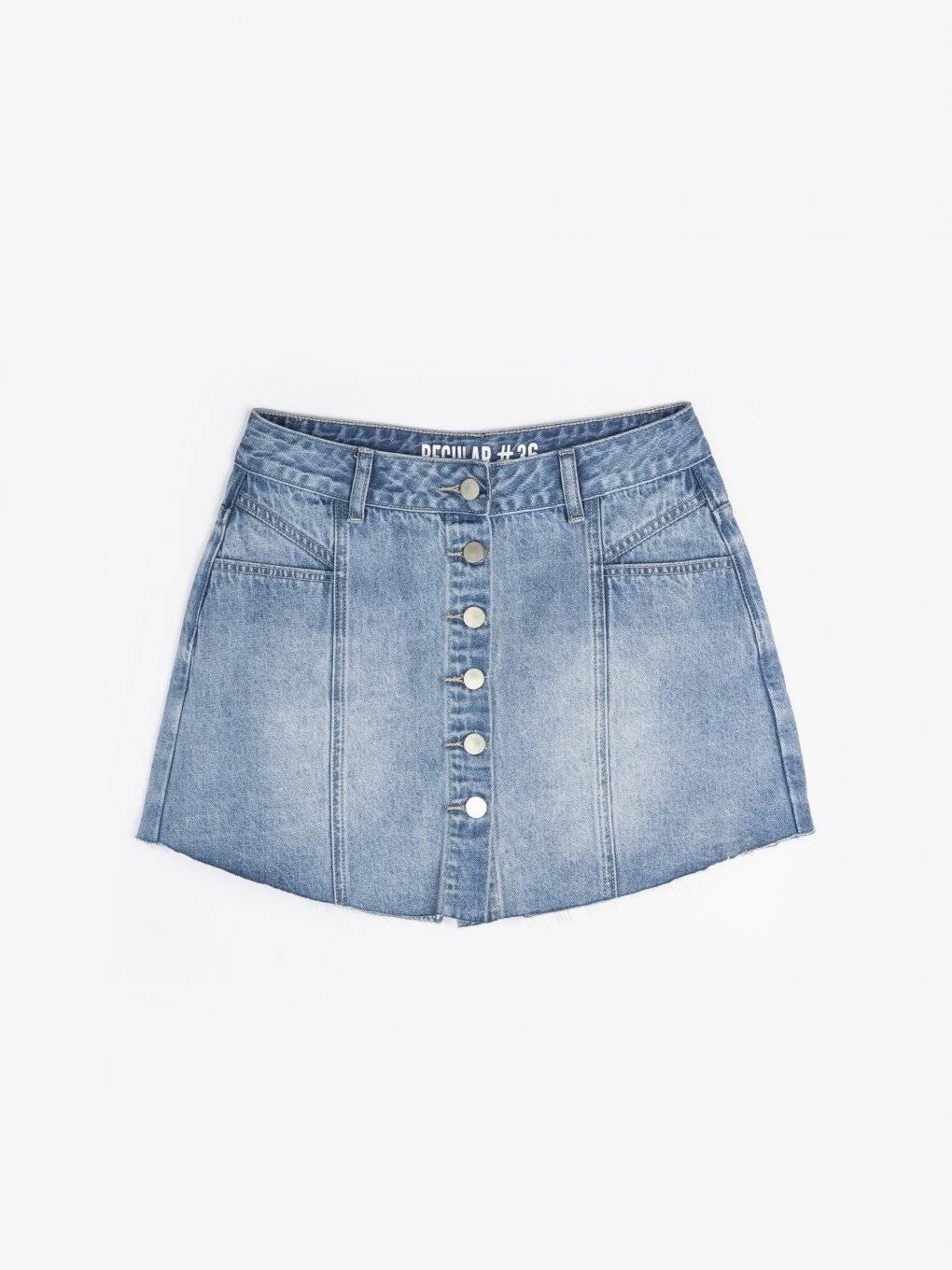 Denim button-up shorts
