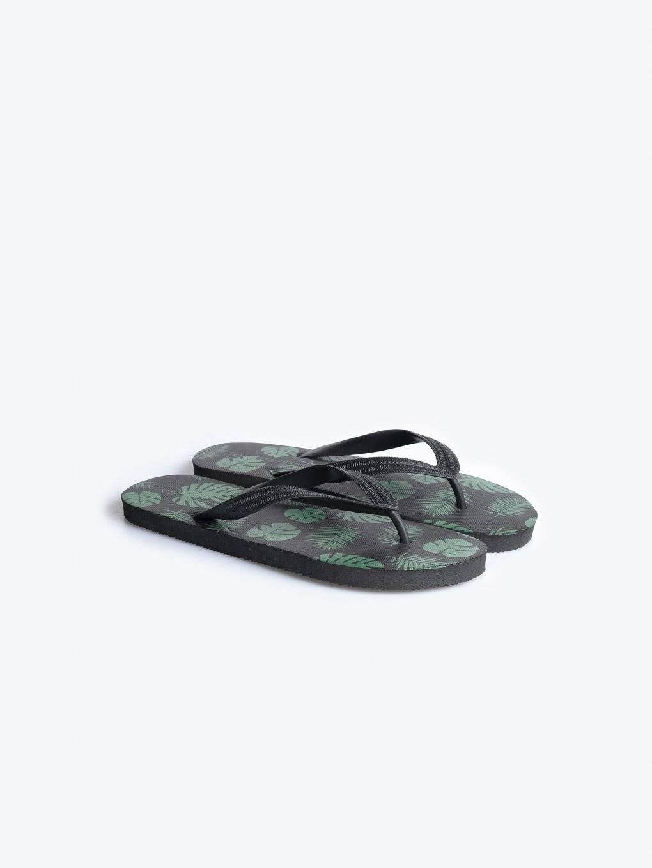 Palm print flip-flops