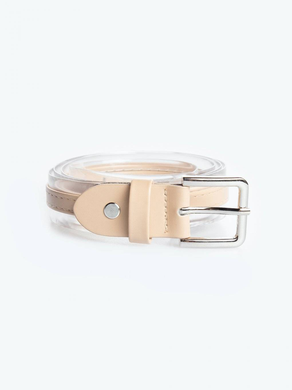 Plastic belt with silver buckle