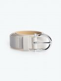 Faux leather belt with silver bukle