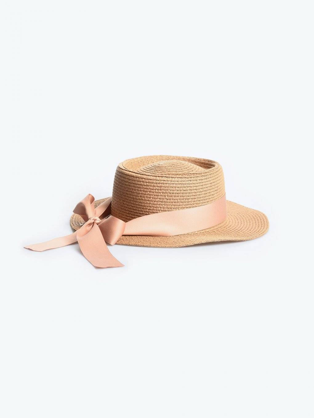 Boater hat with ribbon
