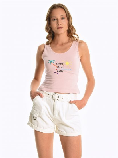 Cotton tank with front print