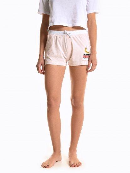 Printed pyjama shorts