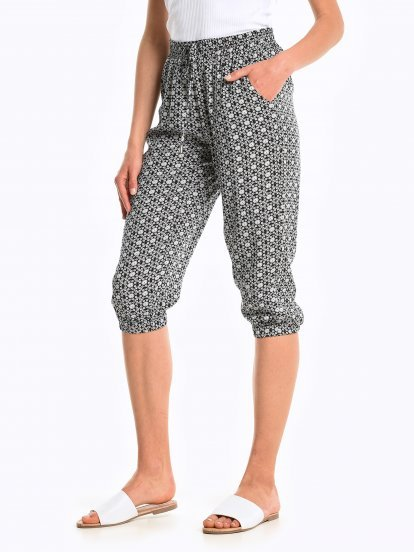 3/4 printed pallazo trousers