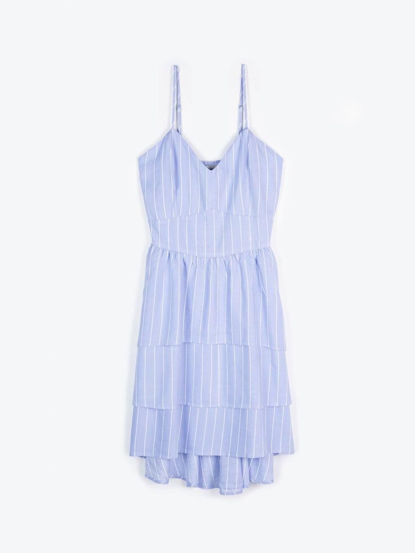 Striped dress with ruffle skirt