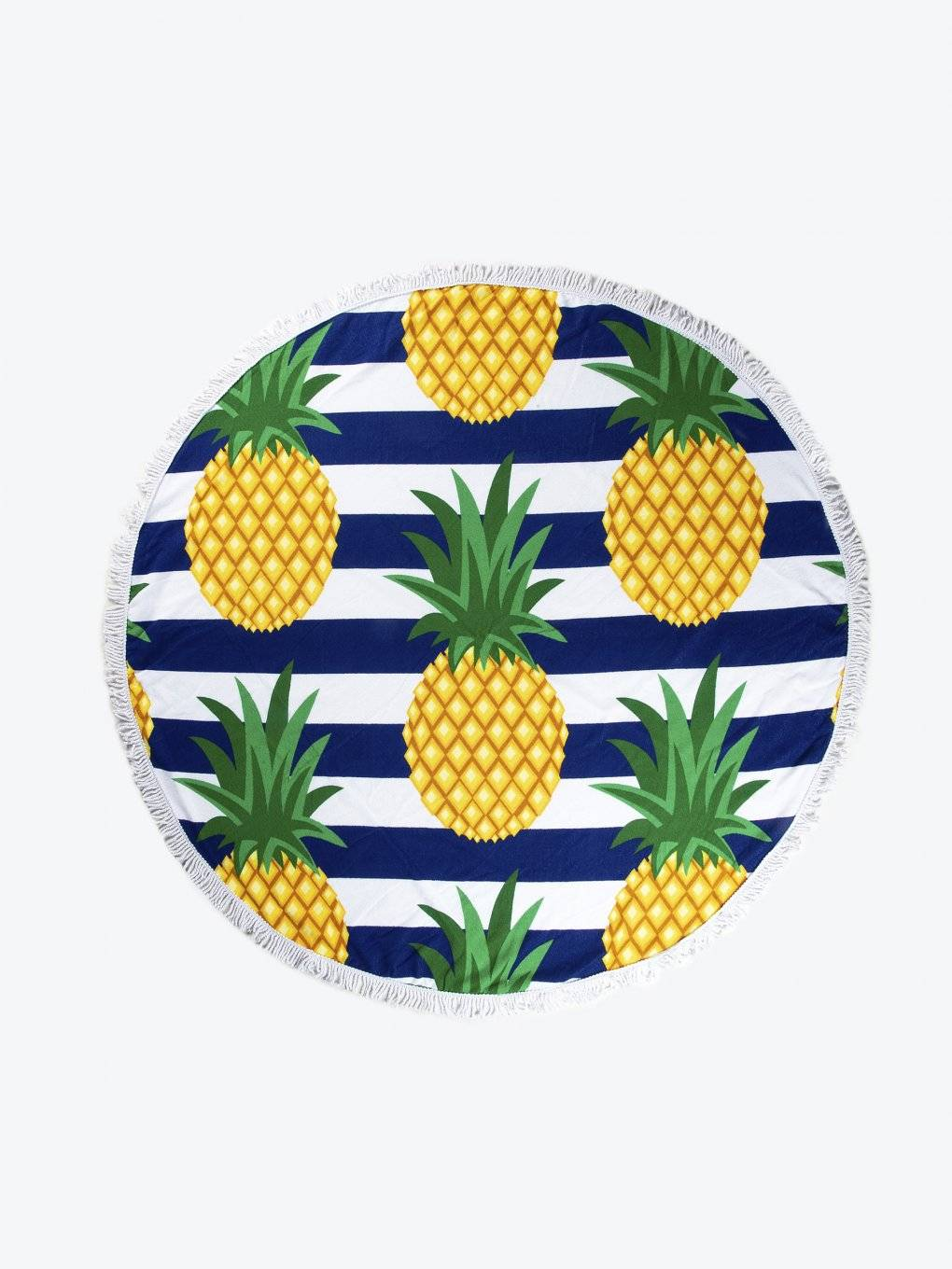 Beach towel with pineapple design and tassels
